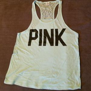 VS Pink mint lace racer back tank M